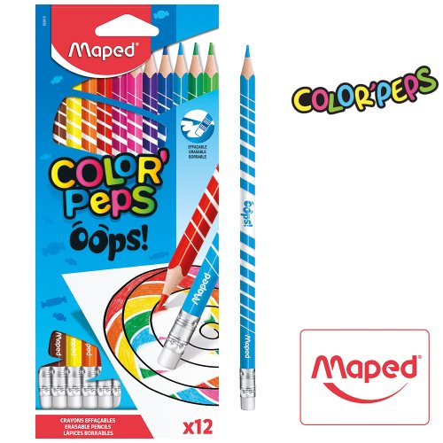 12 Crayons de Couleur - Maped Color'Peps 'OOPS!' - (erasable coloured pencils)