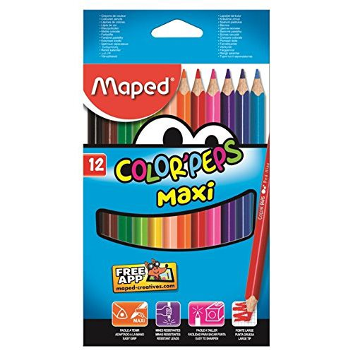 12 grands crayons de couleur Color'Peps 'Maxi'