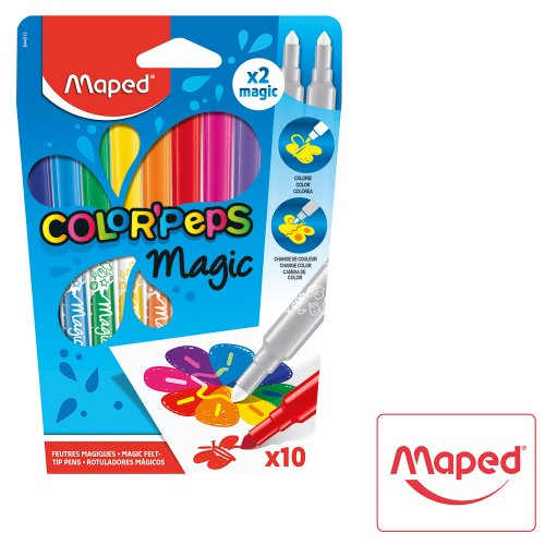 12 feutres / felt pens ; Maped Color'Peps 'MAGIC' (10 colours & 2 magic pens)