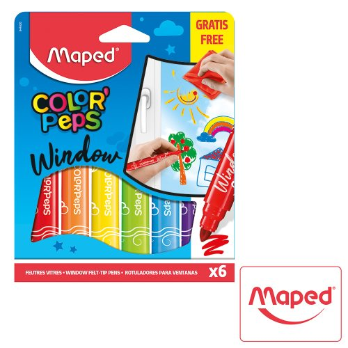 6 Feutres / Felt Pens ; Maped Color'Peps 'Window' Markers, jumbo tips - includes microfibre cloth