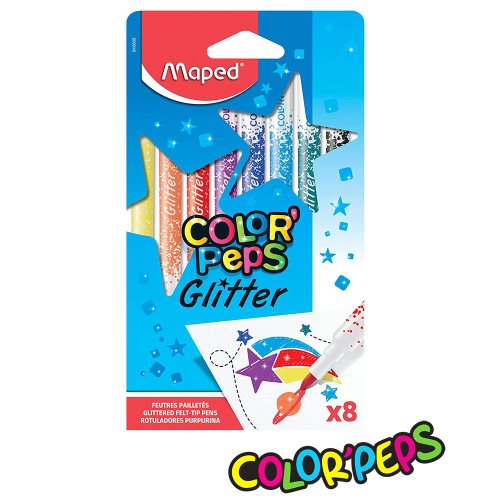 8 Feutres / Felt Pens ; Maped Color'Peps 'Glitter', blocked tips