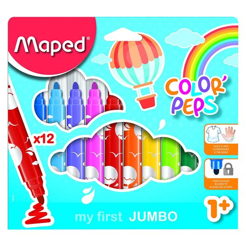12x Feutres 'My First' Jumbo Color'Peps 'my first' - pointe grande (4mm)