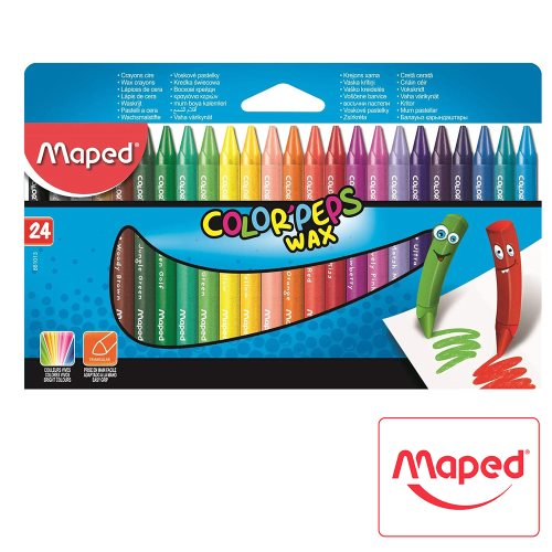 24 Wax Crayons / Crayons Cire, Maped 'Color'Peps Wax' - Triangular Grip