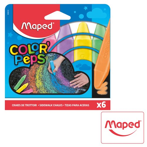 6x Craies det Trottoir / Pavement Chalk ; Maped Color'Peps 'Sidewalk Chalk' (large sticks)