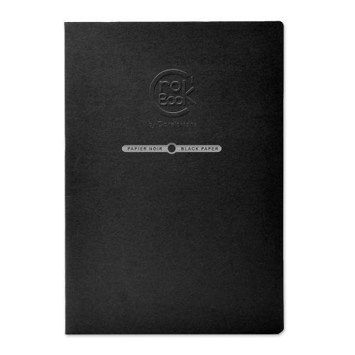 Crok'Book BLACK ; Card and Staple Bound 120g/m² Sketch Book, A4 (21x29,7cm) , 20 sheets/ 40 pages ; black fine grained - (black cover)