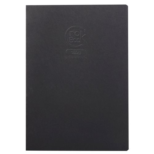 Crok'Book 160g ; Card and Staple Bound 160g/m² Sketch Book, A3, 20 sheets/ 40 pages ; fine grained - (black cover)