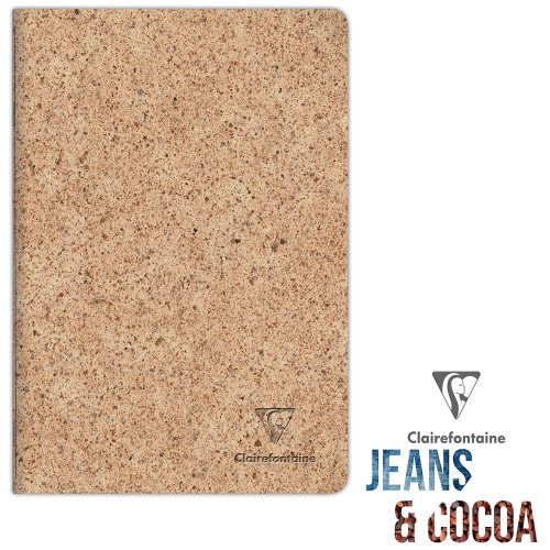 Recycled 'Jeans & Cocoa' Notebook ; A4 (21x29,7cm), lined ivory paper, 96 pages - Tactile Recycled Cocoa Pods Cover