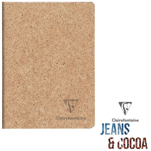 Recycled 'Jeans & Cocoa' Notebook ; A5 (14,8x21cm), lined ivory paper, 96 pages - Tactile Recycled Cocoa Pods Cover