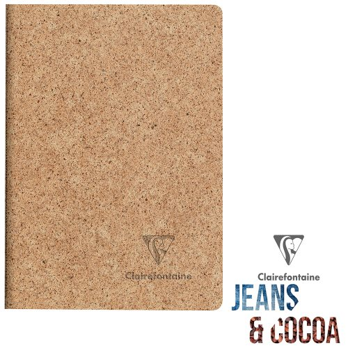 Recycled 'Jeans & Cocoa' Carnet ; A6 (10,5x14,8cm), lined ivory paper, 96 pages - Tactile Recycled Cocoa Pods Cover
