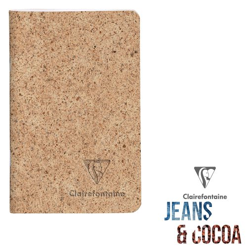 Recycled 'Jeans & Cocoa' Carnet ; 7,5x12cm, lined ivory paper, 48 pages - Tactile Recycled Cocoa Pods Cover