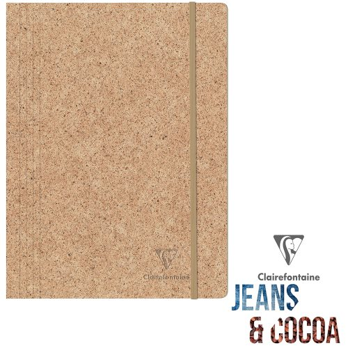 Recycled 'Jeans & Cocoa' 3-Flap Elasticated Folder ; 24x32cm (for A4) - Tactile Recycled Cocoa Pods Cover