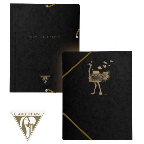 'Flying Spirit' by Clairefontaine ; 3 Flap Elasticated Folder (A4 documents) - (Black / assorted rear cover design)