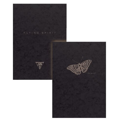 Flying spirit black carnet brochure cousue 14,8x21cm 192p ligne motifs assortis papier ivoire 90g