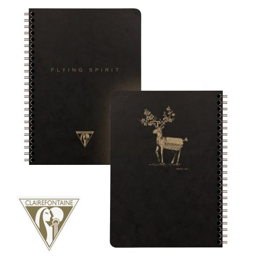 'Flying Spirit' by Clairefontaine ; A5 (14,8x21cm) lined spiralbound notebook, with 3 pocketed dividers - 120p (Black / assorted rear cover design)