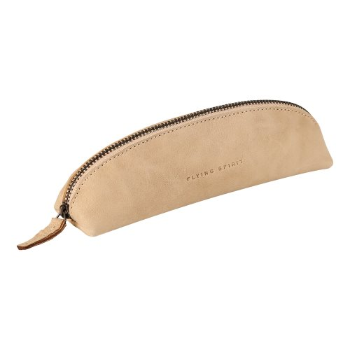 'Flying Spirit' by Clairefontaine ; Triangular Pencil Case (18x4x4cm) with zip, genuine leather - (soft feel beige suede)