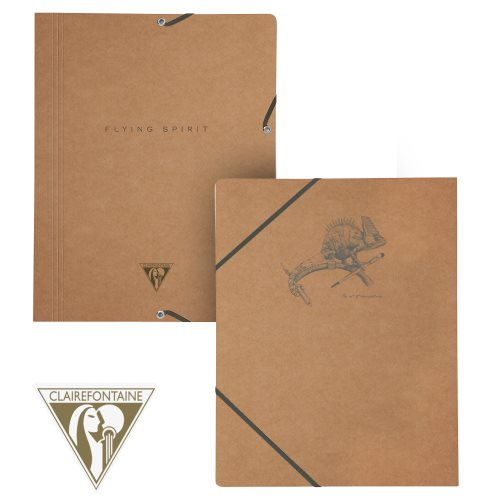 'Flying Spirit' by Clairefontaine ; 3 Flap Elasticated Folder (A4 documents) - (Brown Kraft / assorted rear cover design)