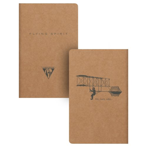 'Flying Spirit' by Clairefontaine ; 9x14cm pocket notebook, with sewn spine and 90gr ivory paper - 96p (brown kraft / assorted rear cover design)
