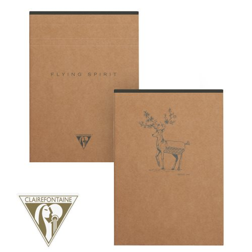 'Flying Spirit' by Clairefontaine ; A5 (14,8x21cm) lined clothbound notepad, detachable 90gr ivory paper - 140p (Brown Kraft / assorted rear cover design)