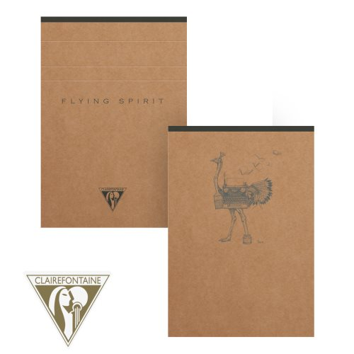 'Flying Spirit' by Clairefontaine ; A6 (10,5x14,8cm) lined clothbound notepad, detachable 90gr ivory paper - 140p (Brown Kraft / assorted rear cover design)