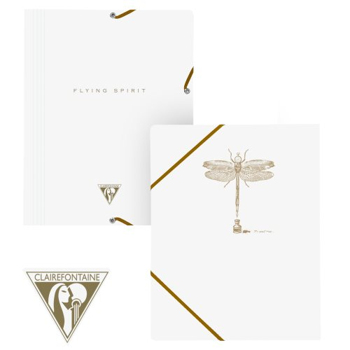 'Flying Spirit' by Clairefontaine ; 3 Flap Elasticated Folder (A4 documents) - (White / assorted rear cover design)