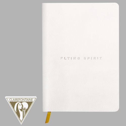 'Flying Spirit' by Clairefontaine ; Geniune Leather Threadbound Journal, with ribbon page marker, and 90gr lined ivory paper - 180p (smooth white)