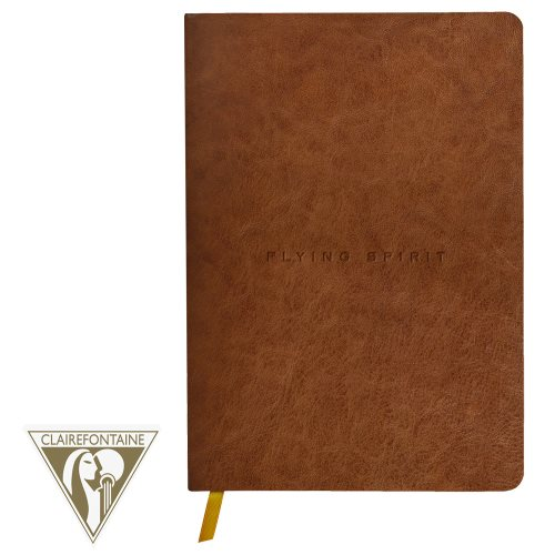 'Flying Spirit' by Clairefontaine ; Geniune Leather Threadbound Journal, with ribbon page marker, and 90gr lined ivory paper - 180p (polished 'cognac')