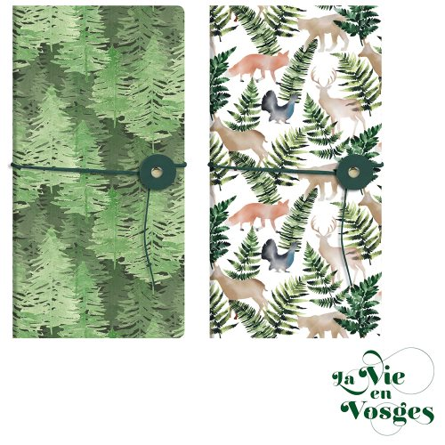 La Vie en Vosges by Clairefontaine ; 9x18cm 'slim' pocket notebook, with cord and button closure - 80p (assorted designs)