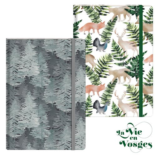 La Vie en Vosges by Clairefontaine ; A6 (10,5x14,8cm) hard-covered and cloth-bound notebook, with expanding rear pocket - 96p (assorted designs)