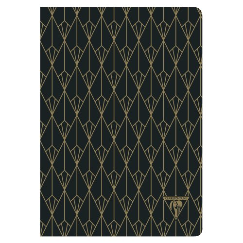 'Neo Deco' by Clairefontaine ; A5 (14,8x21cm) Notebook, sewn spine, lined ivory paper - 96p ('Diamant' ebony black)