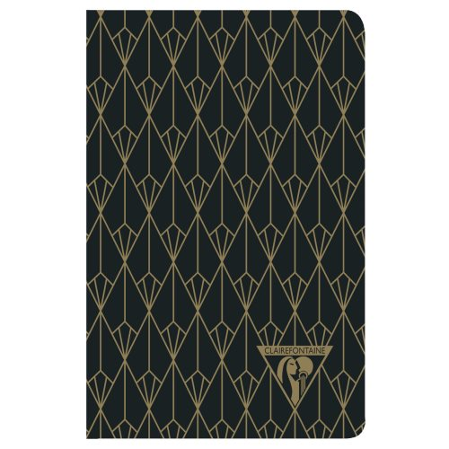 'Neo Deco' by Clairefontaine ; 9x14cm Carnet, sewn spine, lined ivory paper - 96p ('Diamant' ebony black)