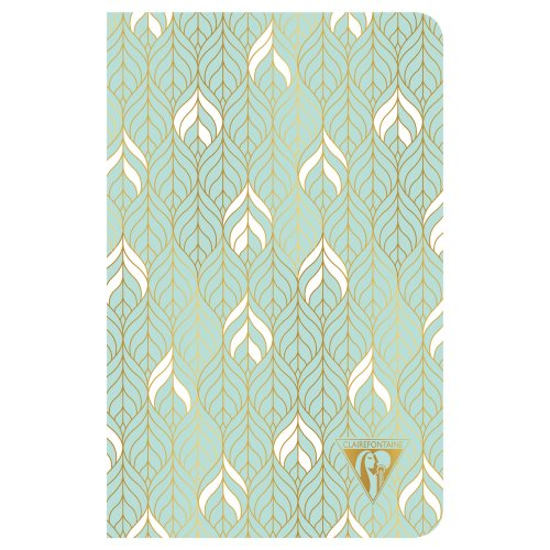 'Neo Deco' by Clairefontaine ; 11x17cm Carnet, sewn spine, lined ivory paper - 96p ('Liane' vert d'eau)