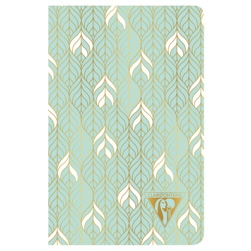 'Neo Deco' by Clairefontaine ; 9x14cm Carnet, sewn spine, lined ivory paper - 96p ('Liane' vert d'eau)