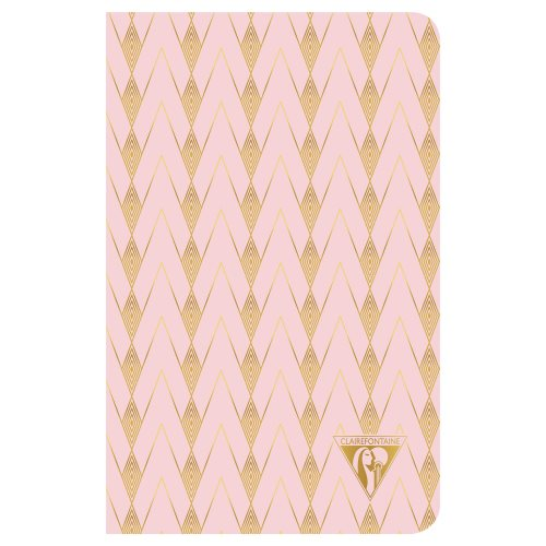 'Neo Deco' by Clairefontaine ; 11x17cm Carnet, sewn spine, lined ivory paper - 96p ('Zenith' - powder pink)
