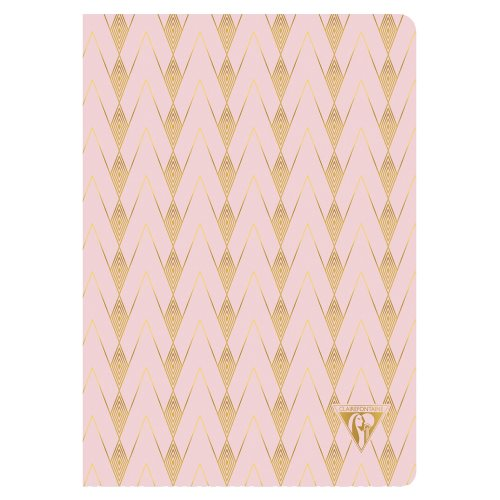 'Neo Deco' by Clairefontaine ; A5 (14,8x21cm) Notebook, sewn spine, lined ivory paper - 96p ('Zenith' - powder pink)