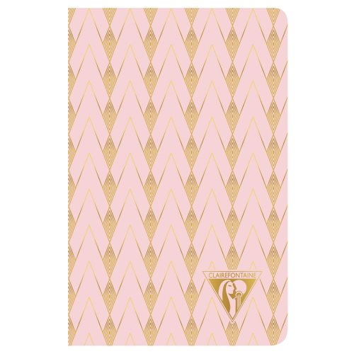'Neo Deco' by Clairefontaine ; 9x14cm Carnet, sewn spine, lined ivory paper - 96p ('Zenith' - powder pink)