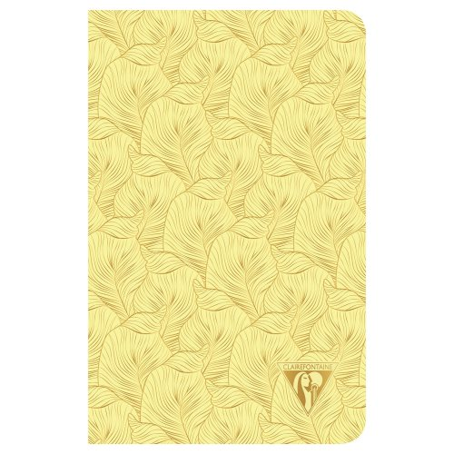'Neo Deco' by Clairefontaine ; 11x17cm Carnet, sewn spine, lined ivory paper - 96p ('Tropical' sulfur yellow)