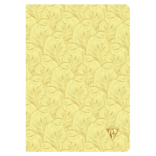 'Neo Deco' by Clairefontaine ; A5 (14,8x21cm) Notebook, sewn spine, lined ivory paper - 96p ('Tropical' sulfur yellow)