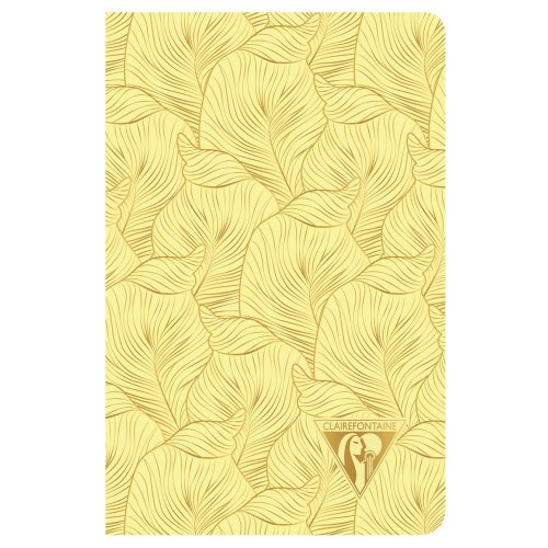 'Neo Deco' by Clairefontaine ; 9x14cm Carnet, sewn spine, lined ivory paper - 96p ('Tropical' sulfur yellow)