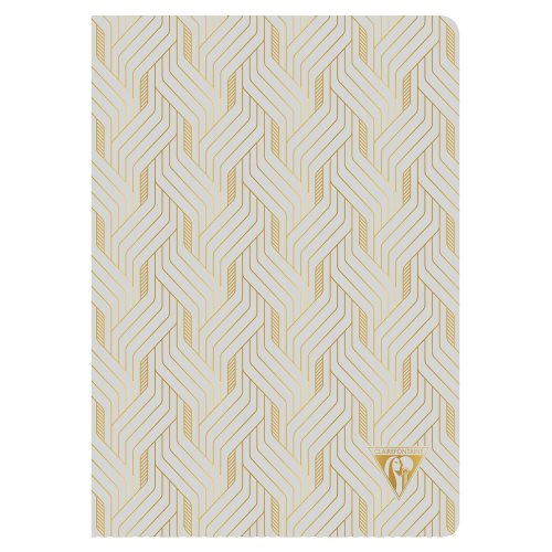 'Neo Deco' by Clairefontaine ; A5 (14,8x21cm) Notebook, sewn spine, lined ivory paper - 96p ('Mirage' Pearl Grey)