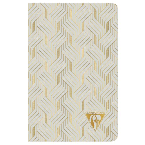 'Neo Deco' by Clairefontaine ; 9x14cm Carnet, sewn spine, lined ivory paper - 96p ('Mirage' Pearl Grey)