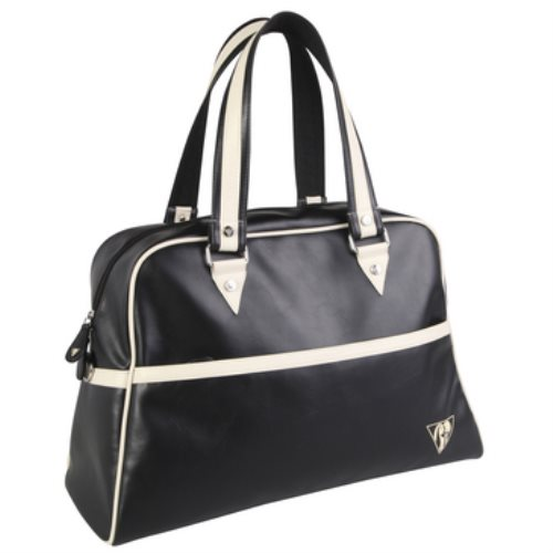 Sac fourré vintage Back To Basics - Simili cuir - 47x32x19cm (noir/beige)