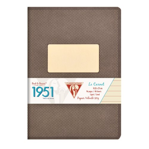 Back to Basics '1951' Notebook by Clairefontaine ; A5 (14,8x21cm), lined, staple bound - 96 pages (black)