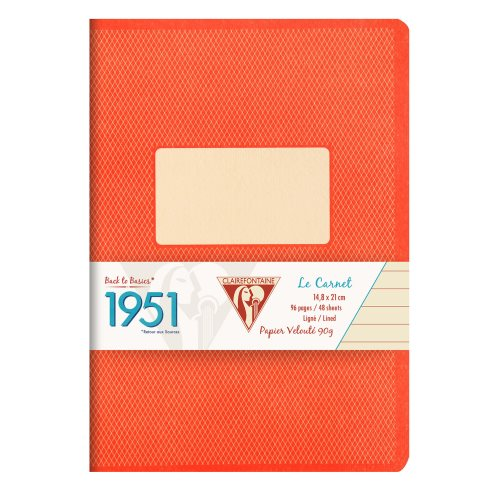 Back to Basics '1951' Notebook by Clairefontaine ; A5 (14,8x21cm), lined, staple bound - 96 pages (coral orange)