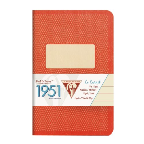 Back to Basics '1951' Carnet by Clairefontaine ; 9x14cm, lined, staple bound - 96 pages (coral orange)