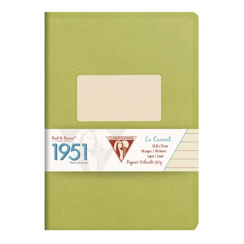 Back to Basics '1951' Notebook by Clairefontaine ; A5 (14,8x21cm), lined, staple bound - 96 pages (green)