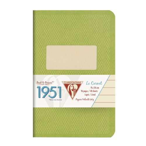 Back to Basics '1951' Carnet by Clairefontaine ; 9x14cm, lined, staple bound - 96 pages (green)
