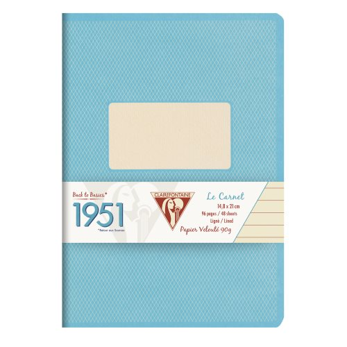 Back to Basics '1951' Notebook by Clairefontaine ; A5 (14,8x21cm), lined, staple bound - 96 pages (turquoise)