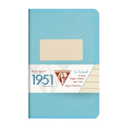 Back to Basics '1951' Carnet by Clairefontaine ; 9x14cm, lined, staple bound - 96 pages (turquoise)