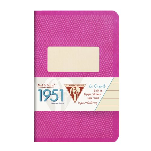 Back to Basics '1951' Carnet by Clairefontaine ; 9x14cm, lined, staple bound - 96 pages (raspberry / framboise)