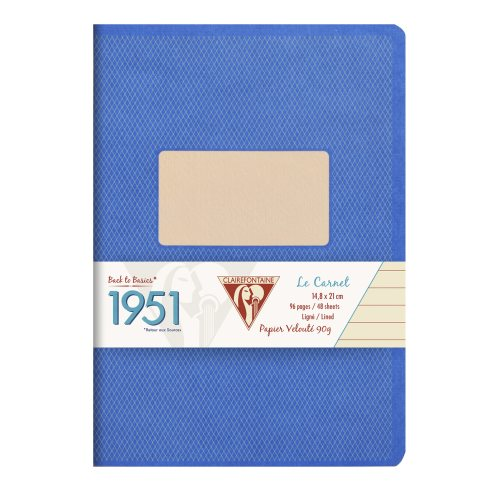 Back to Basics '1951' Notebook by Clairefontaine ; A5 (14,8x21cm), lined, staple bound - 96 pages (blue)